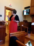 Pastor Sara McKinley preaches in our chapel.